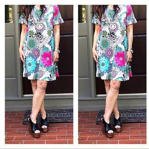 Dresses & Skirts - Side pocket ruffle short sleeves print swing dress